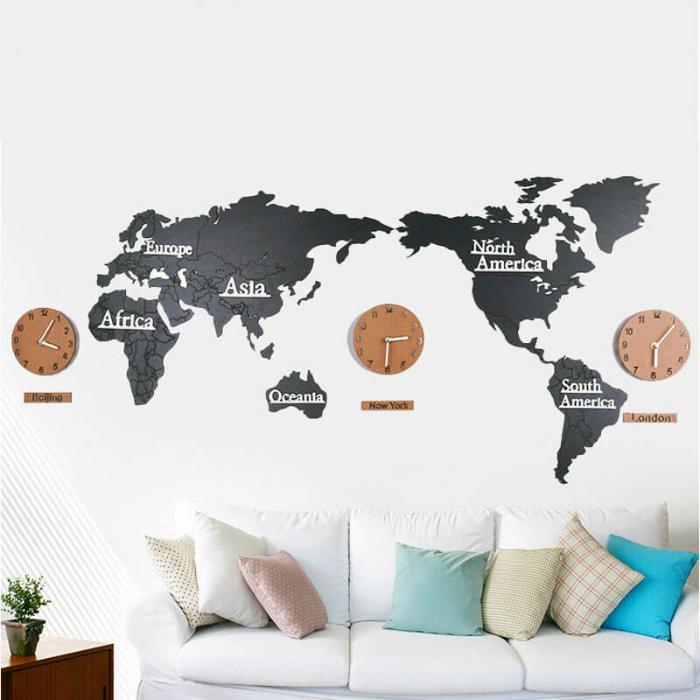 北歐風桃木世界地圖掛鐘