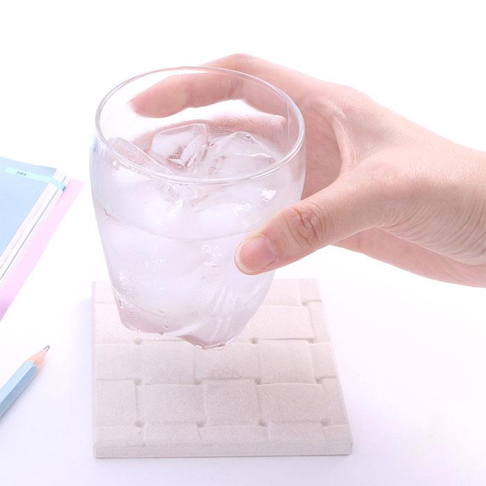 硅藻土瞬間吸水杯墊-四入組