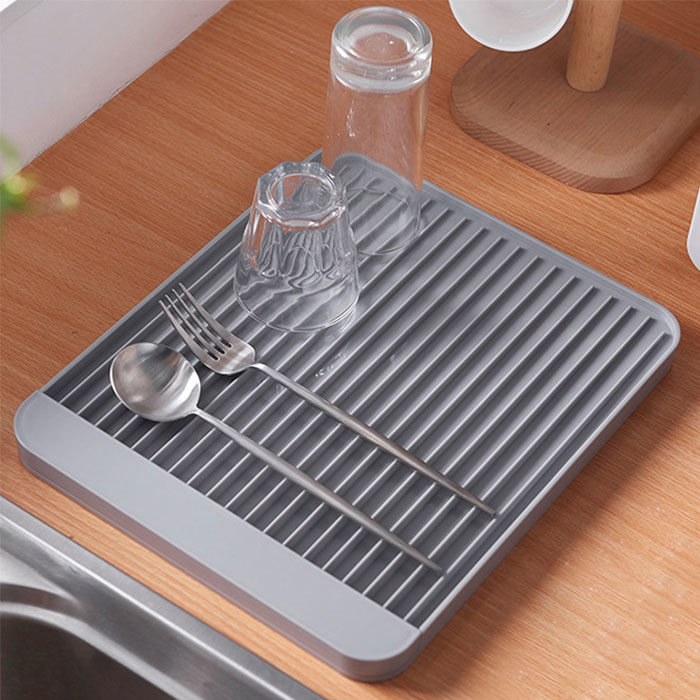 硅藻土條紋平面瀝水碗盤架