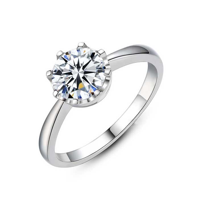 925純銀戒指 單鑽爪鑲婚戒
