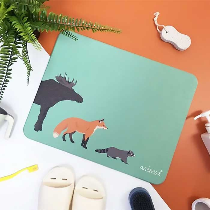 獨家販售台灣彩繪硅藻土地墊-森林動物