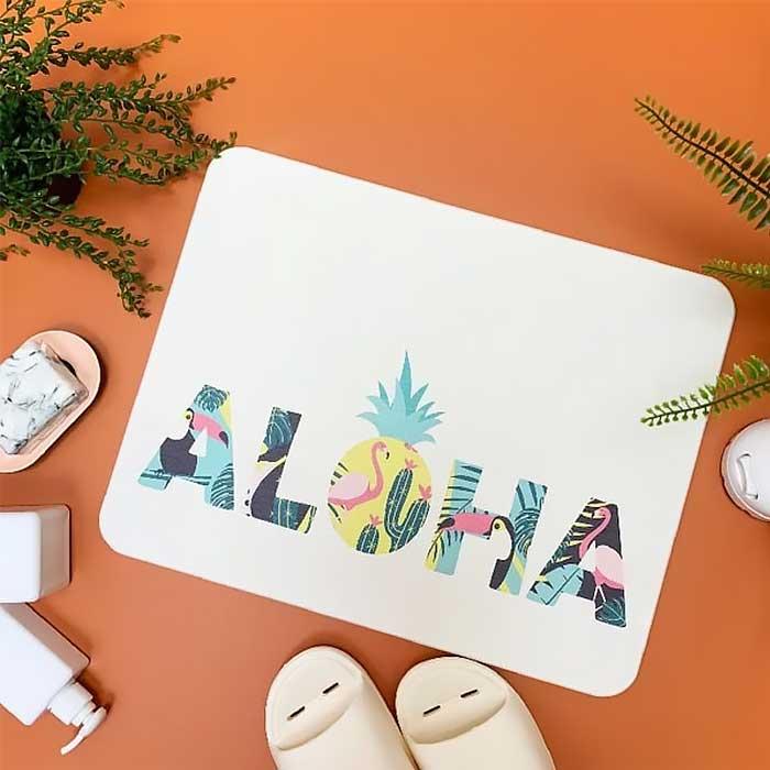 獨家販售台灣彩繪硅藻土地墊-ALOHA