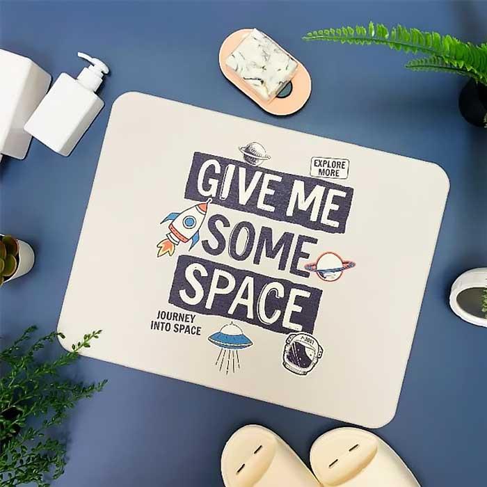 獨家販售台灣彩繪硅藻土地墊-漫遊太空