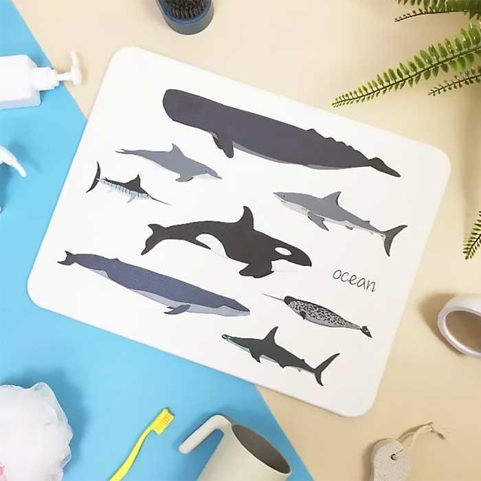 獨家販售台灣彩繪硅藻土地墊-鯨魚圖鑑