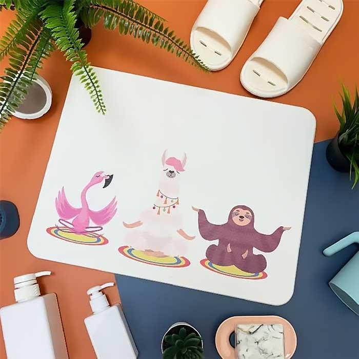 獨家販售台灣彩繪硅藻土地墊-冥想動物