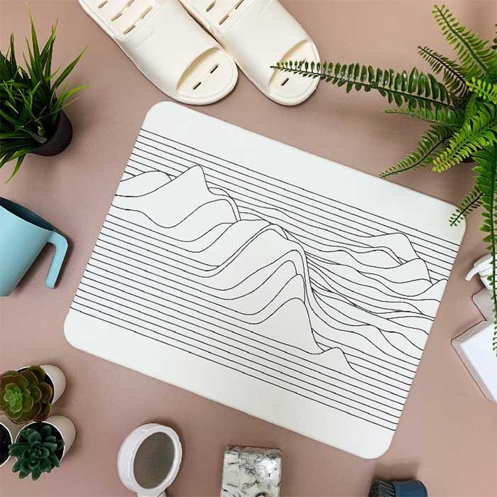 獨家販售台灣彩繪硅藻土地墊-線形山脈