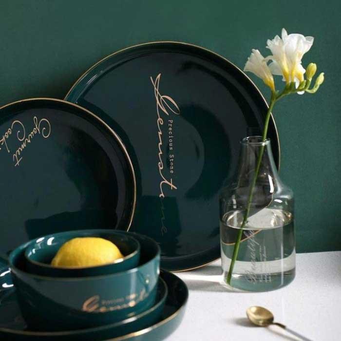 北歐風純色金邊陶瓷盤