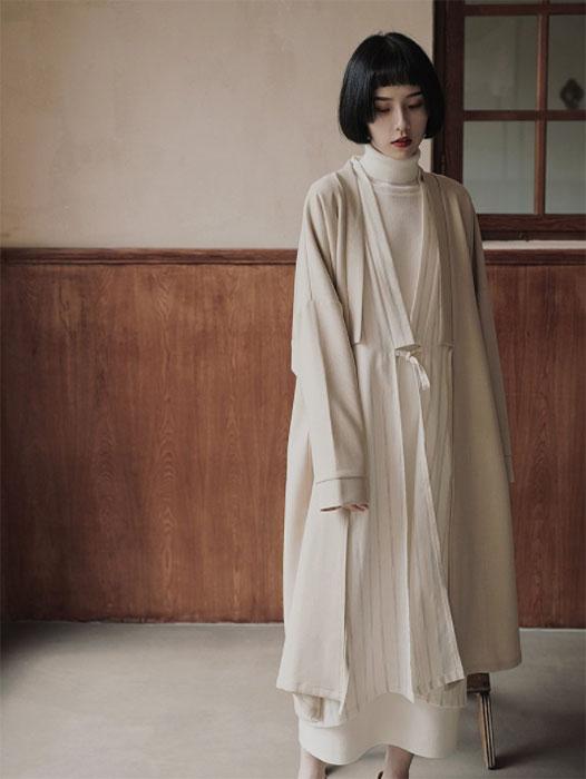 極簡禮物 春款日式和服係帶中長款氣質開衫